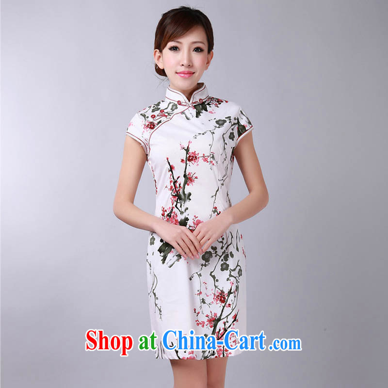 Ko Yo vines into colorful 2015 factory direct stylish new high-end atmosphere throughout the cotton-mouth is the collar retro short-sleeved water the phillips-cultivating maize cheongsam D 0 red stamp 175_2 XL