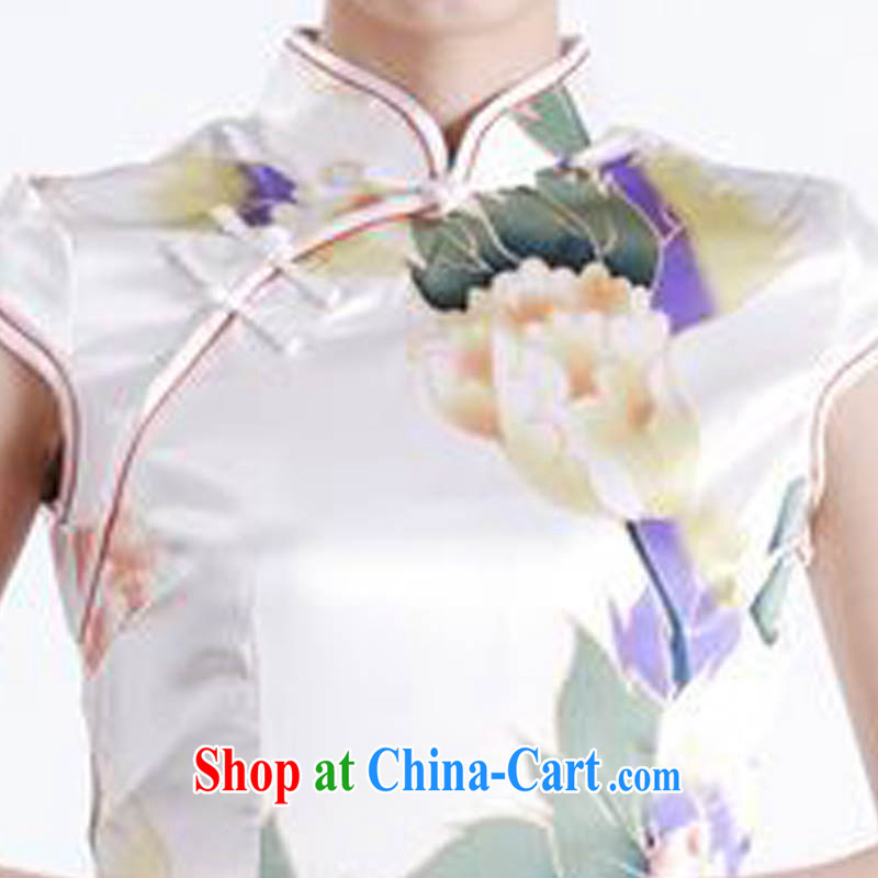Ko Yo Mephidross 2015 colorful Stylish retro high-end rayon ramp ends, short-sleeved video thin large Peony stamp-'s improved cheongsam D 0157 white 175/2 XL, capital city sprawl, shopping on the Internet
