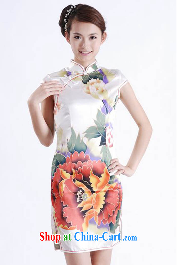 Ko Yo Mephidross 2015 colorful Stylish retro high-end rayon ramp ends, short-sleeved video thin large Peony stamp-'s improved cheongsam D 0157 white 175/2 XL pictures, price, brand platters! Elections are good character, the national distribution, so why buy now enjoy more preferential! Health