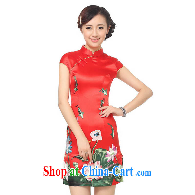 Ko Yo vines into colorful 2015 new Stylish retro new and improved, cheongsam dress damask, for low-power's a tight short-sleeved short cheongsam D 0183 red 175/2 XL