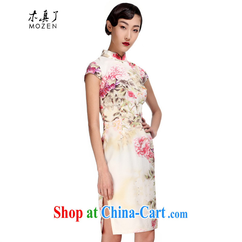 Wood is really the 2015 spring and summer new elegant beauty improved short cheongsam Chinese dresses 01,003 13 yellow XXL