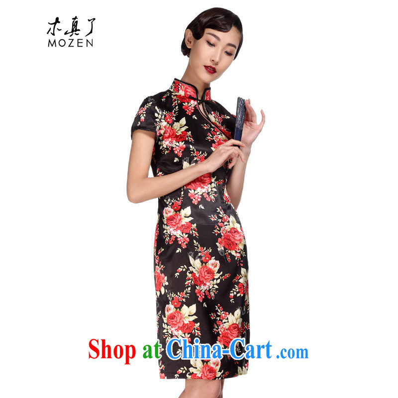 Wood is really the MOZEN 2015 spring and summer new stamp duty, short cheongsam dress dresses package mail 01,088 01 black saffron M