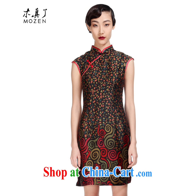 Wood is really the 2015 new female necks Chinese Silk Cheongsam elegant floral dress package mail 11,570 01 black XXXL
