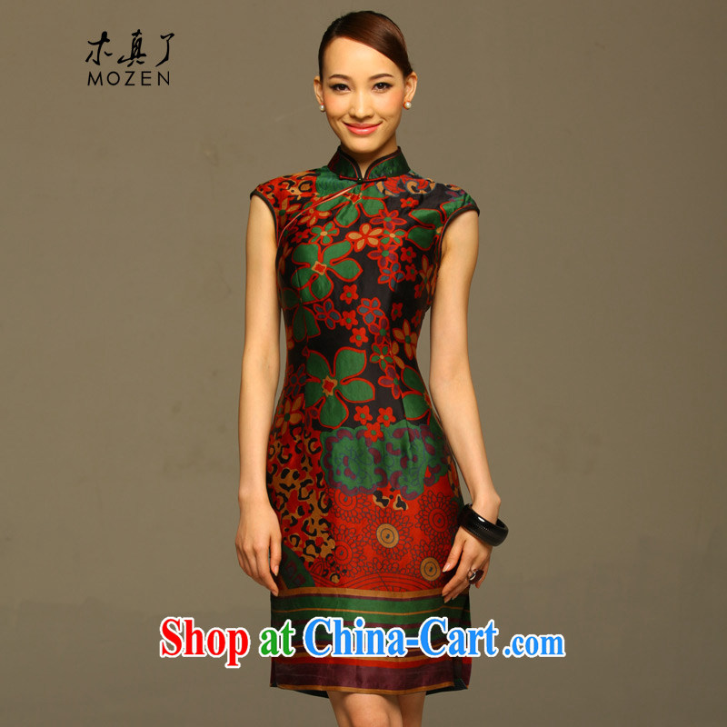 Wood is really the Chinese Tang with improved cheongsam dress summer 2015 New Silk Cheongsam dress female 11,571 14 green XXXL