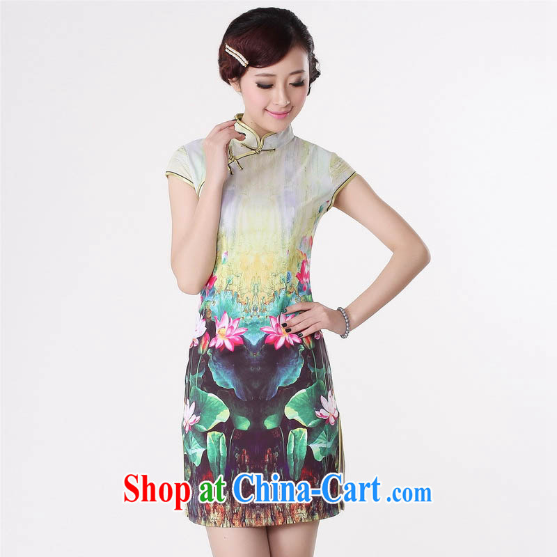Summer 2015 new stylish new high celing is tight, short-sleeved Low Power's improved explosive graphics waist Lotus short cheongsam D 0193 Green lotus 175/2 XL
