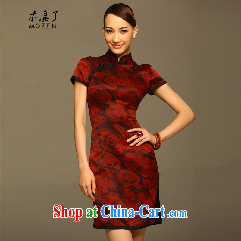 Wood is really the women summer 2015 New Silk Cheongsam dress silk floral dress with her mother dress 11,593 04 dark L