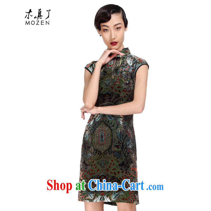 Wood is really the 2015 spring and summer new, improved cheongsam silk short dress Chinese elegant dress package mail 21,916 14 dark green XXXL