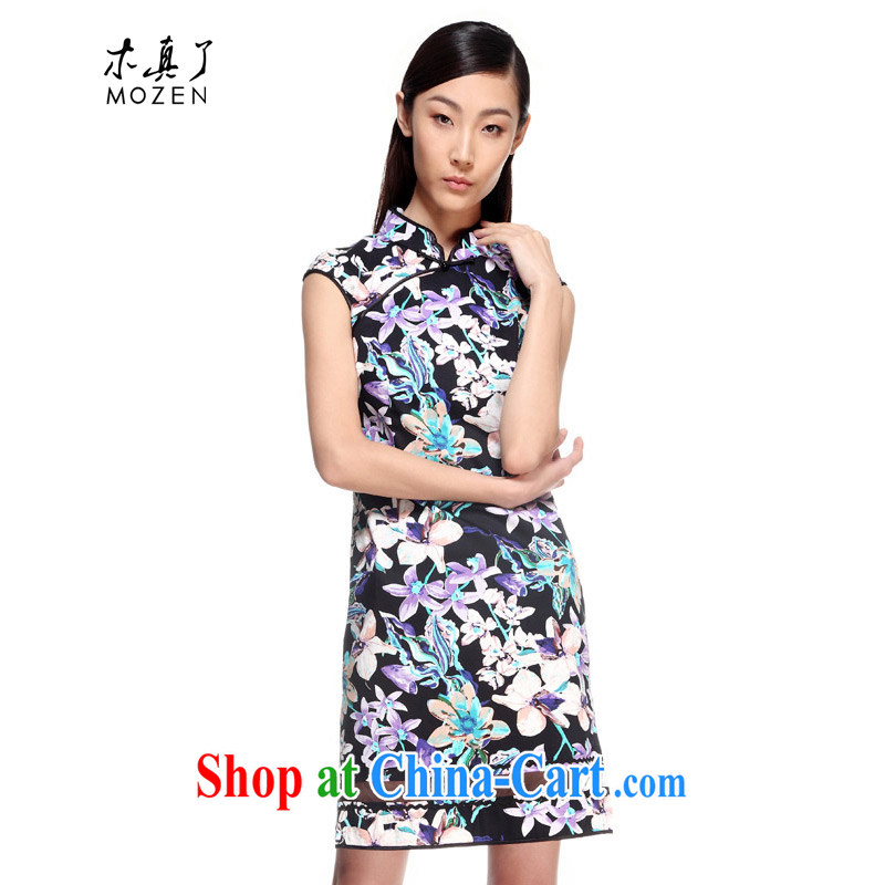 Wood is the 2015 spring and summer new Chinese cotton fancy spelling yarn short cheongsam 21,979 01 black XXL