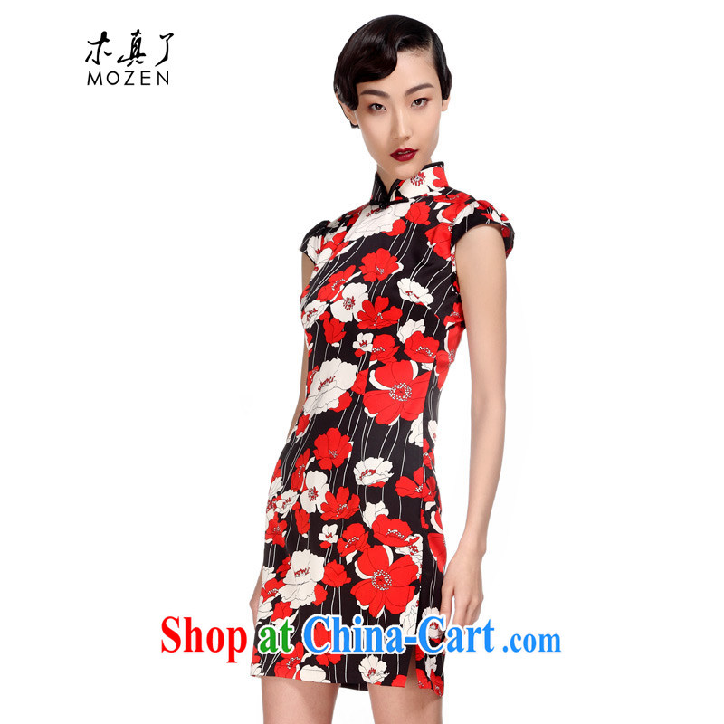 Wood is really the 2015 spring and summer new Chinese beauty short cheongsam improved dresses 32,428 01 black XXL