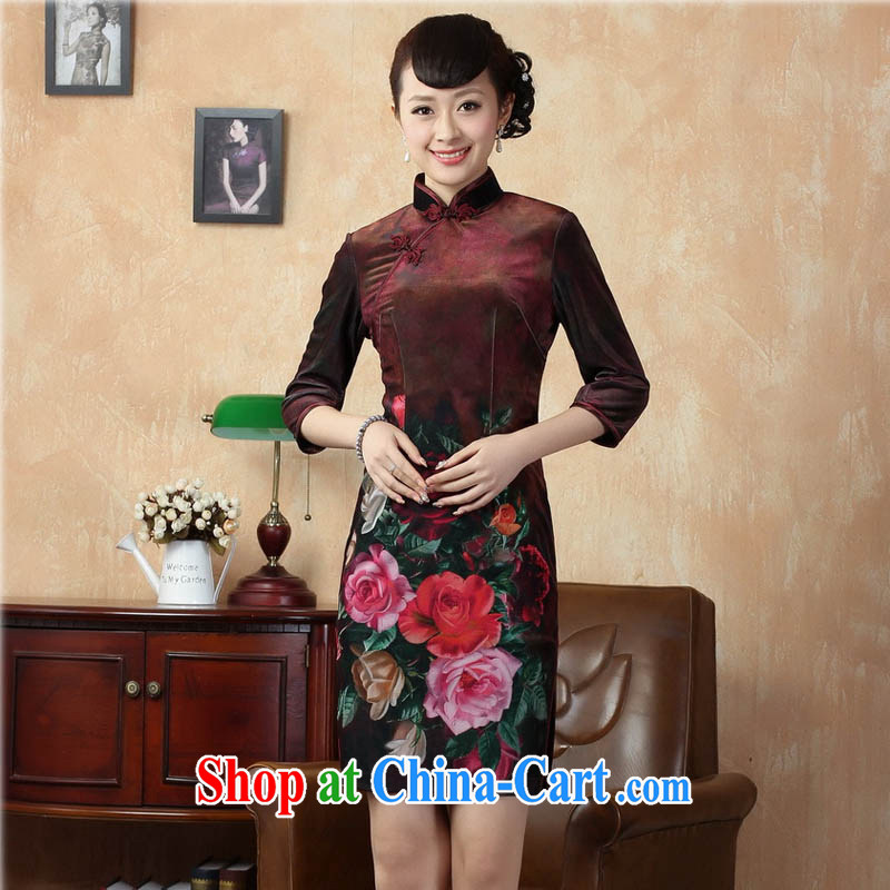 Capital city sprawl 2015 new retro cuff in improved stylish gold velour cheongsam dress Chinese Dress Ethnic Wind short cheongsam dress TD 0002 wine red 170_XL