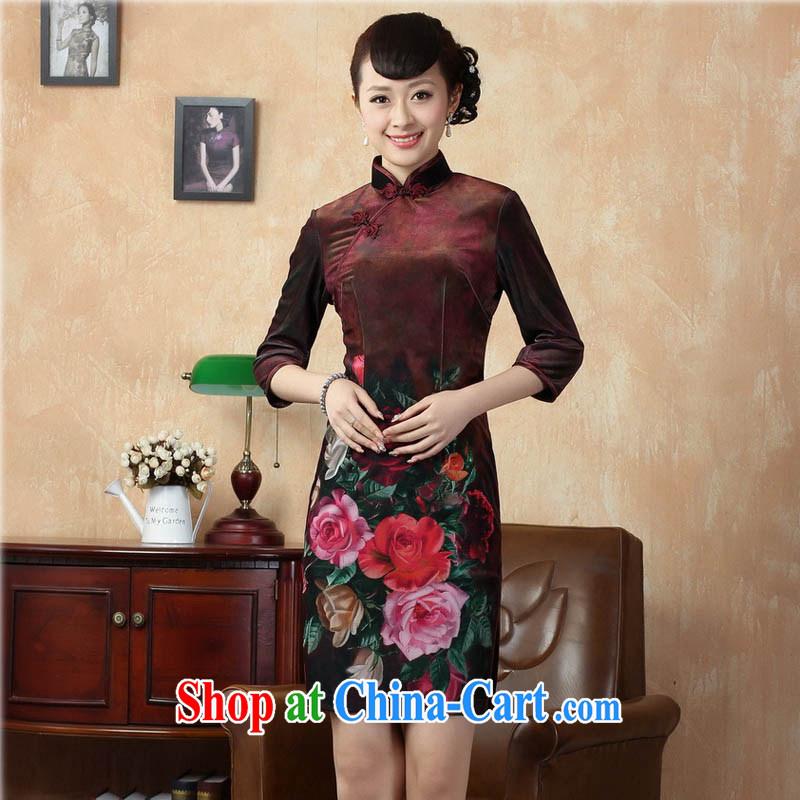 Capital city sprawl 2015 new retro cuff in improved stylish gold velour cheongsam dress Chinese Dress Ethnic Wind short cheongsam dress TD 0002 wine red 170_XL