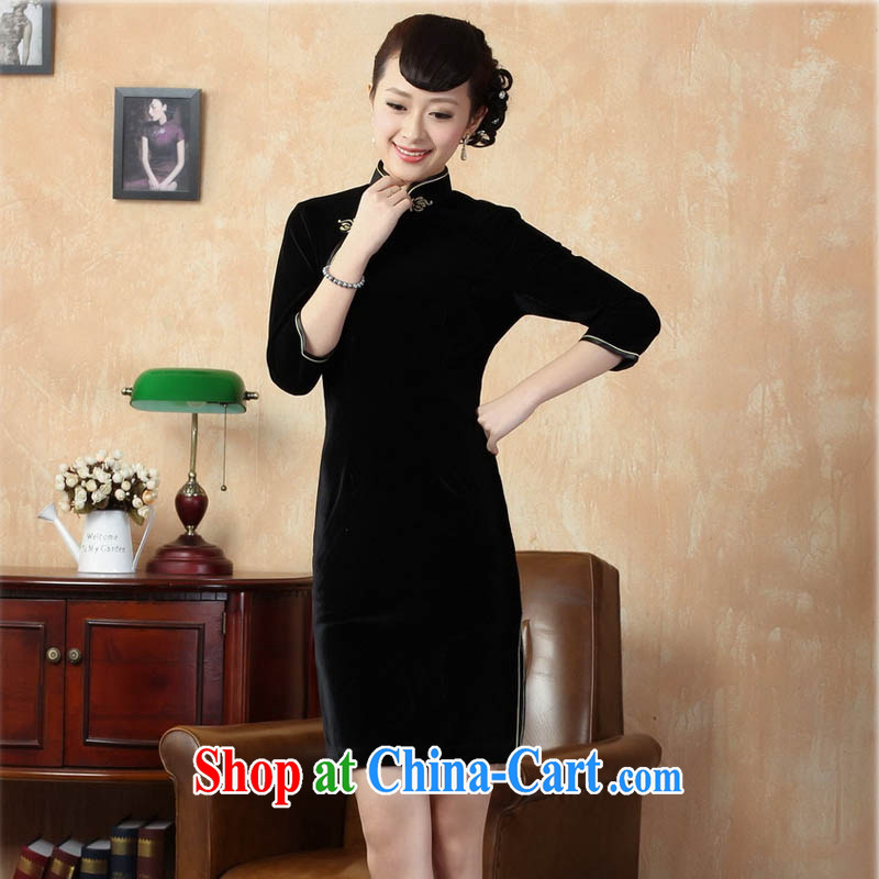 Ko Yo vines into colorful 2015 summer new retro 7 cuff improved solid color stretch gold velour cheongsam dress Chinese-short cheongsam dress TD 0005 black 180/3 XL