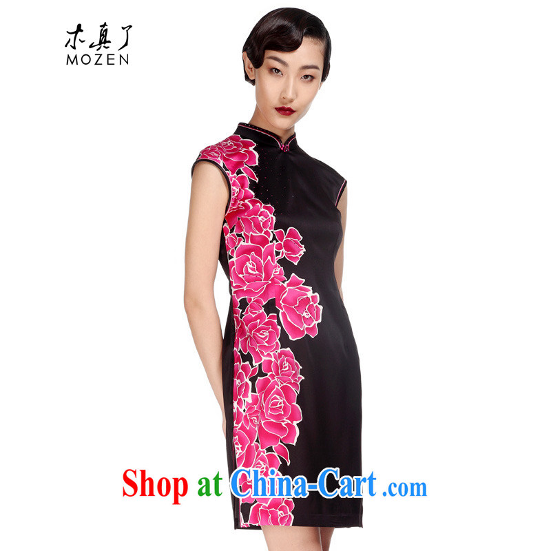 Wood is really the MOZEN 2015 spring and summer new Chinese improved stamp short cheongsam dresses 21,976 01 black XXXL