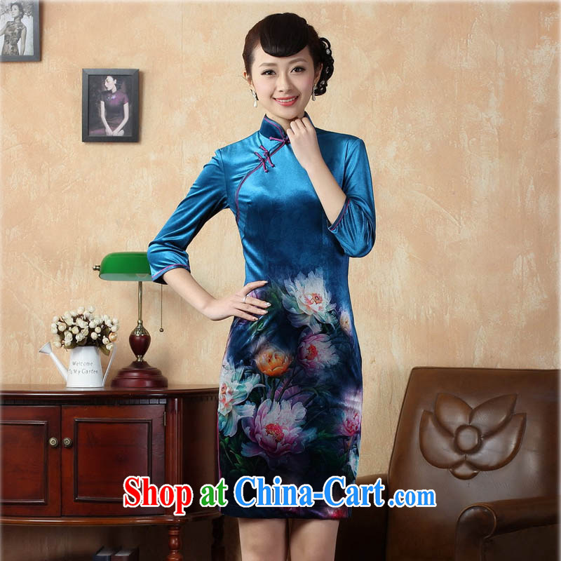 Ko Yo vines into colorful 2015 summer new retro 7 sub-cuff improved stamp duty stretch the velvet cheongsam dress Chinese-short cheongsam dress TD 0009 royal blue 175_2 XL