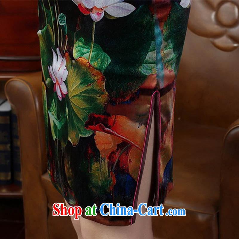 Ko Yo vines into colorful 2015 summer new, Retro 7 sub-cuff improved stamp duty stretch the velvet cheongsam dress Chinese-short cheongsam dress TD 0009 royal blue 175/2 XL, capital city sprawl, shopping on the Internet