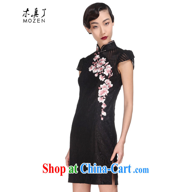 Wood is really the MOZEN 2015 spring and summer new short-sleeved elegant embroidery dress cheongsam dress package mail 32,380 01 black XL