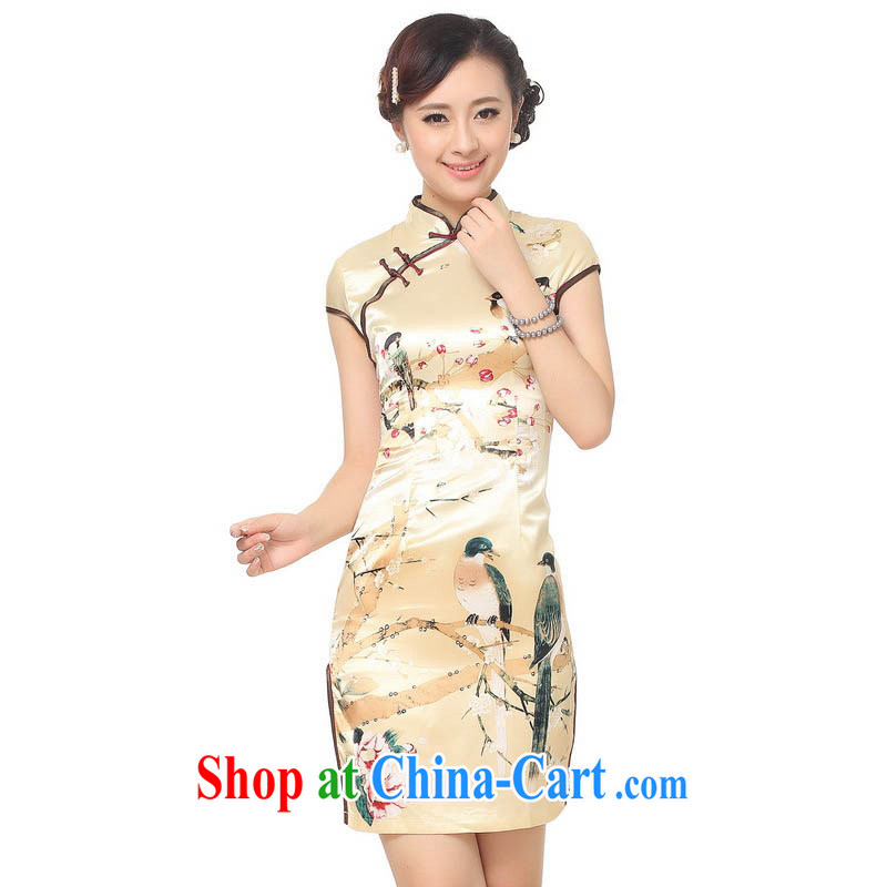 Summer 2015 new stylish new high celing is tight, for cultivating short-sleeved beige flower water ink printing and dyeing robes D 0197 gold 165/L