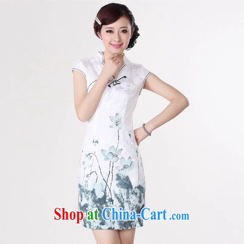 Ko Yo Mephidross beauty summer 2015 new stylish new cotton is a tight, short-sleeved light blue water the lotus beauty video back Chinese qipao D 0217 white 175/2 XL