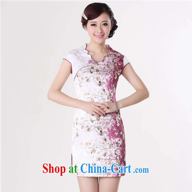 2015 spring and summer new stylish new pure cotton is a flap V collar short-sleeved standard spray dyeing antique flower cheongsam D 0219 red stamp 175/2 XL