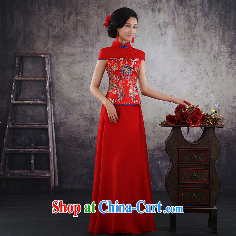 There is embroidery bridal 2014 summer new dresses marriage Chinese short-sleeve Phoenix also improved red dress bridal toast serving QP - 369 short-sleeve made final