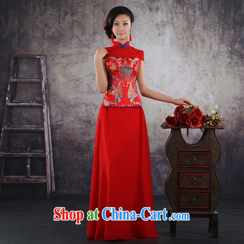 There is a bride's 2014 summer, new dresses marriage Chinese short-sleeved Phoenix - Use improved red dress bridal toast serving QP - 369 short-sleeved made no return, no embroidery bridal, and shopping on the Internet