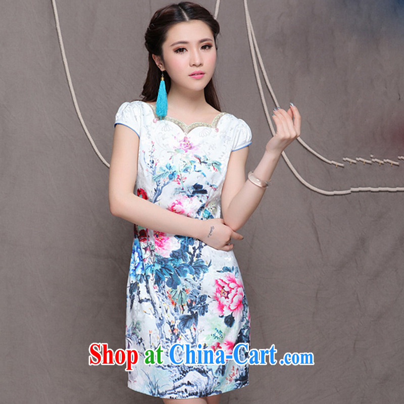 Shallow end China wind National wind Women's clothes improved stylish commuter cultivating graphics thin cheongsam ZMY 9904 Map Color XXL
