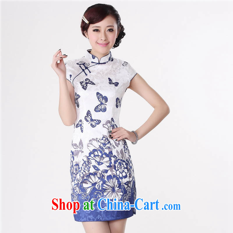 Summer 2015 new stylish new cotton cultivation is stylish, tight short-sleeved light Purple Butterfly flower Chinese qipao D 0220 blue stamp 165/L