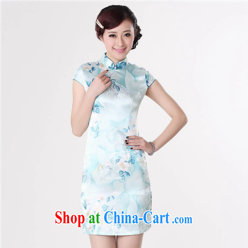 Summer 2015 new stylish new jacquard cotton improved Retro is a tight, short-sleeved light blue robes J 5132 fresh light blue 155/S