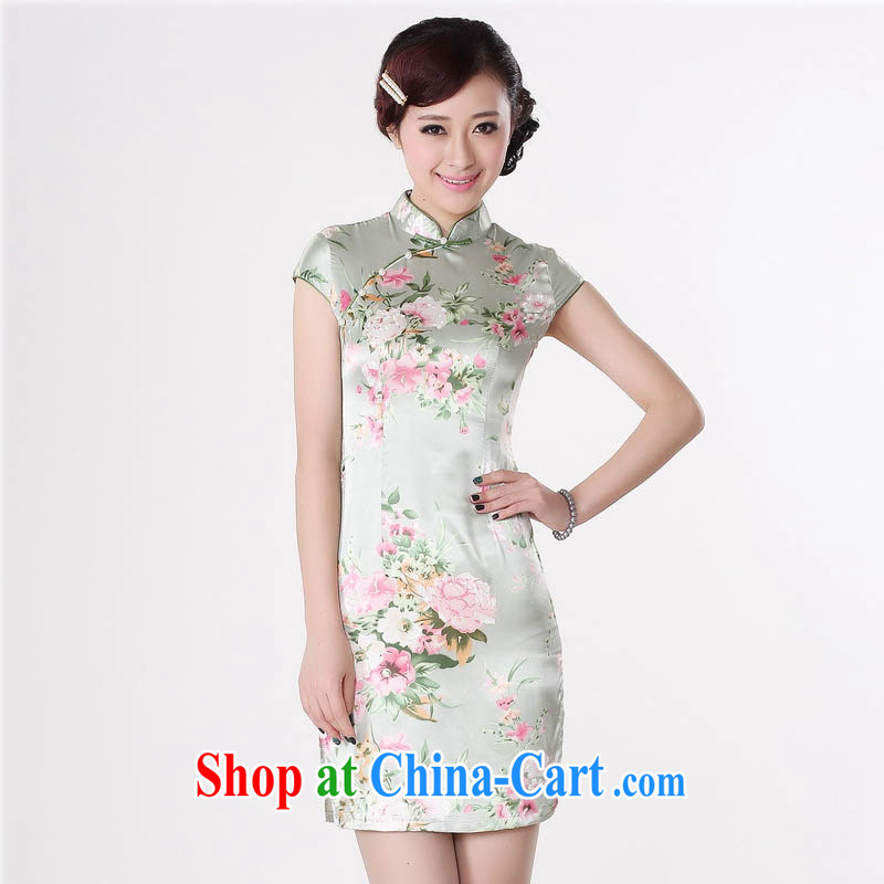 Summer 2015 new stylish new damask is a tight, short-sleeved style beauty retro flowers stamp cheongsam J 5133 light green 165_L
