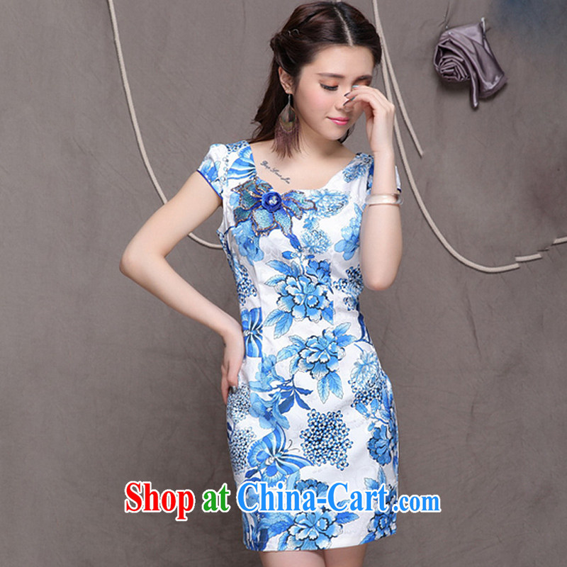 Shallow end, high-end Ethnic Wind women's clothing Chinese qipao dress retro embroidered cheongsam dress ZMY 9907 blue blue XXL