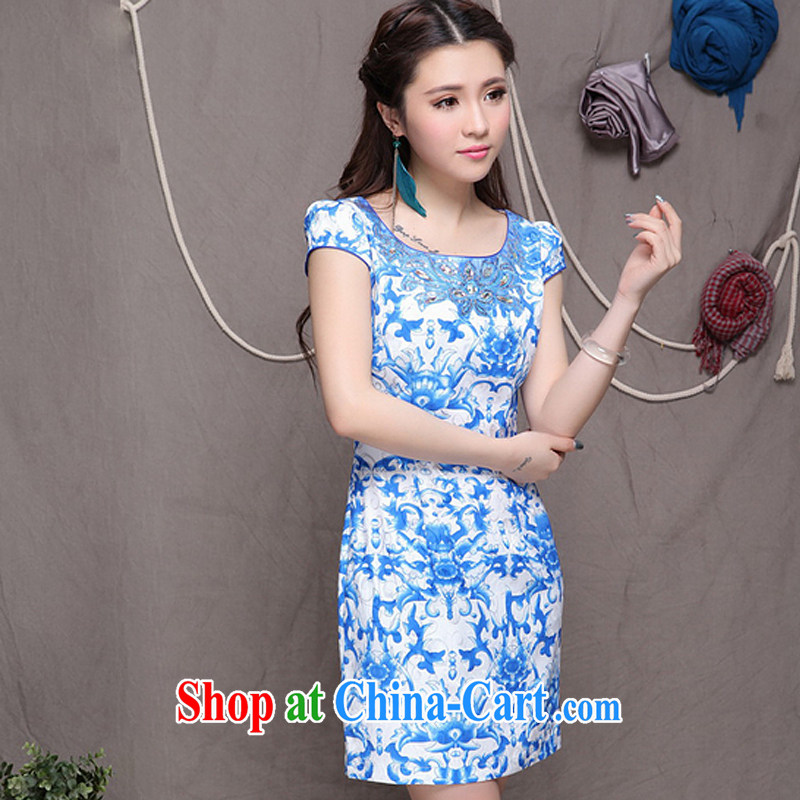 Shallow end, high-end Ethnic Wind stylish Chinese qipao dress retro beauty graphics thin cheongsam ZMY 9901 blue blue XXL