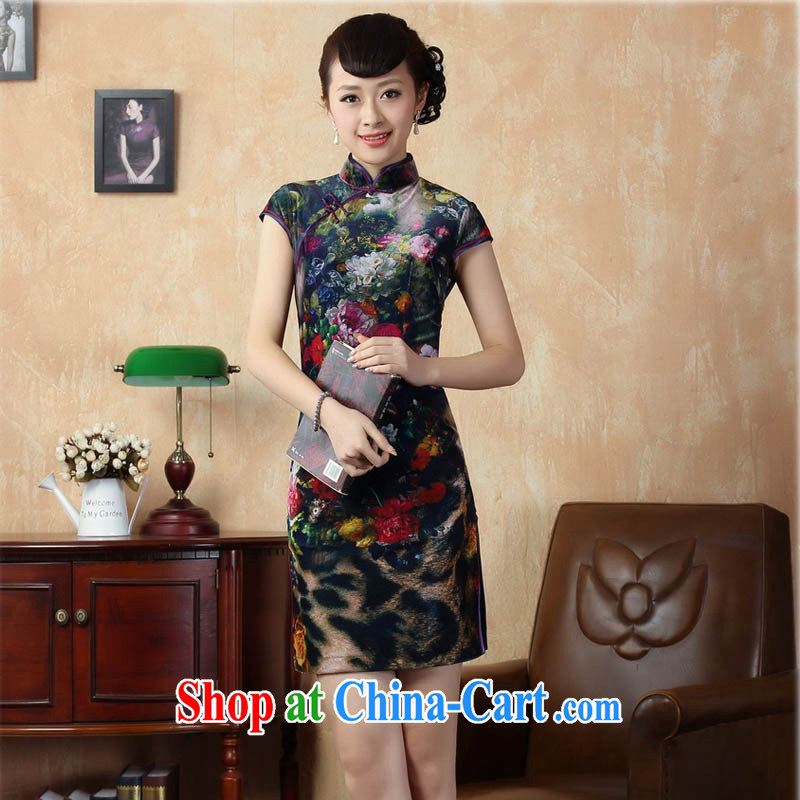 Ko Yo vines into colorful 2014 summer New Classic short-sleeved improved stylish classic Silk Cheongsam dress Chinese Dress ethnic wind short cheongsam dress TD 0011 5 color 165_L
