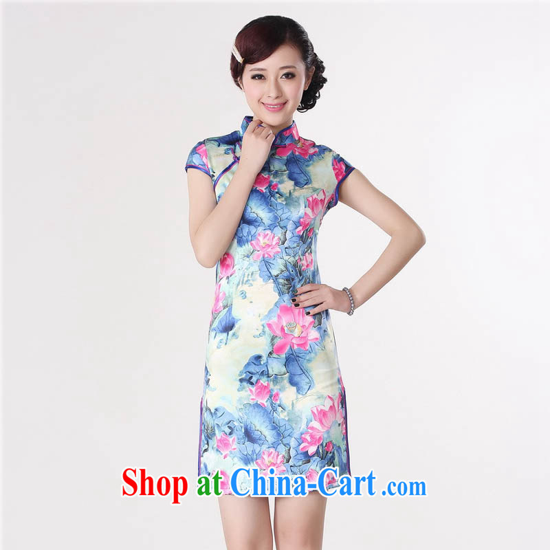Capital city sprawl 2015 summer new retro short-sleeved improved fashion cheongsam dress Chinese Dress Lotus figure short cheongsam dress D 0200 royal blue 165_L