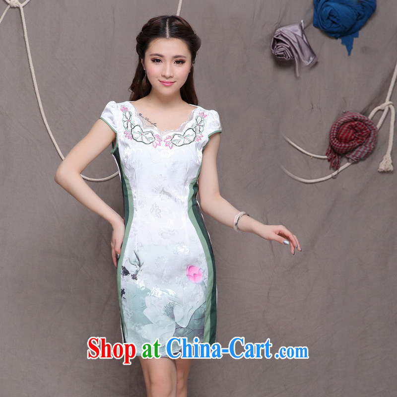 2014 summer, daily high-end Ethnic Wind stylish Chinese qipao dress retro beauty graphics thin cheongsam green XXL