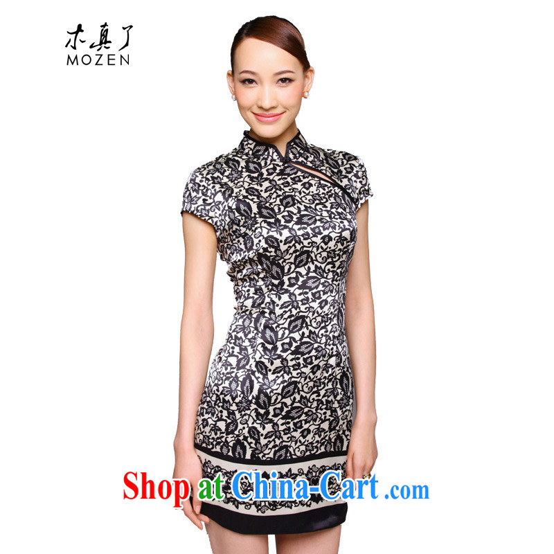 Wood is really the 2015 New Silk stamp improved cheongsam dress beauty Silk Dresses 11,548 01 black XXL