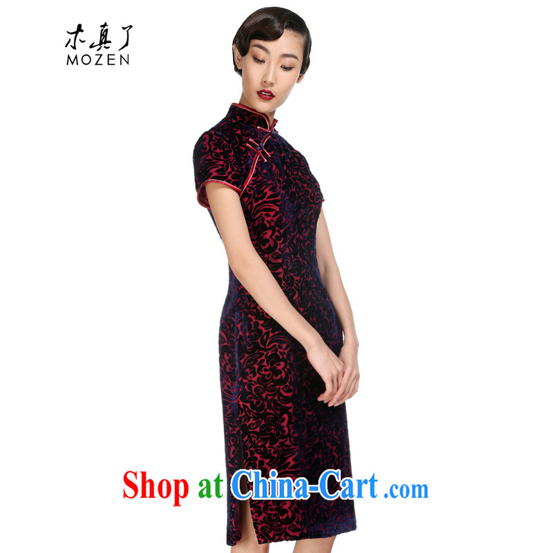 Wood is a qipao 2015 spring new true velvet dress beauty improved cheongsam dress mother Summer Load 11,543 16 deep purple XXXXL
