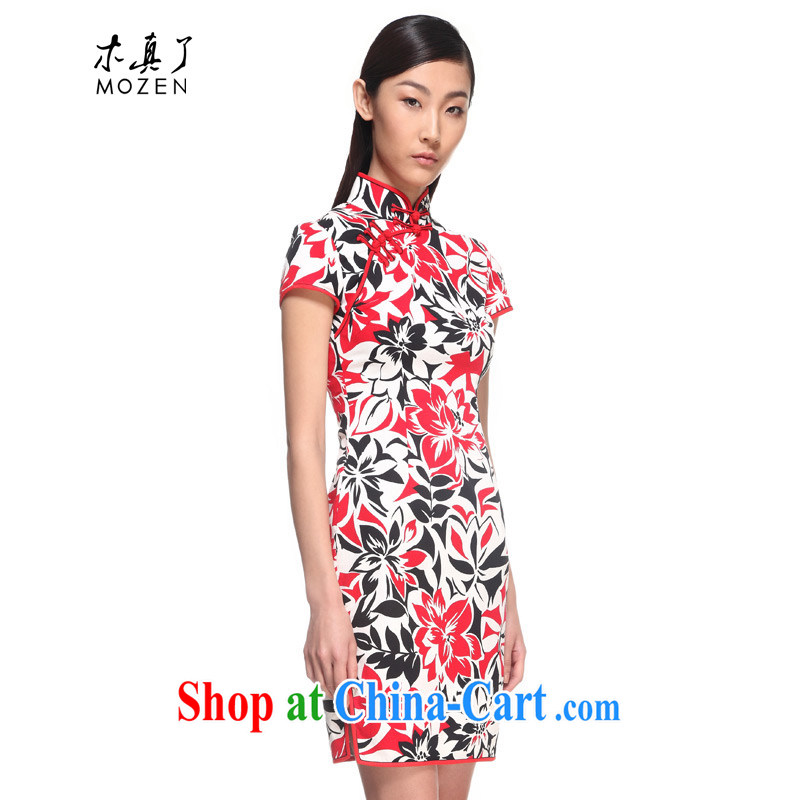 Wood really improved cheongsam dress summer 2015 new elegant floral cotton cheongsam dress female 00,980 05 light red XXXL
