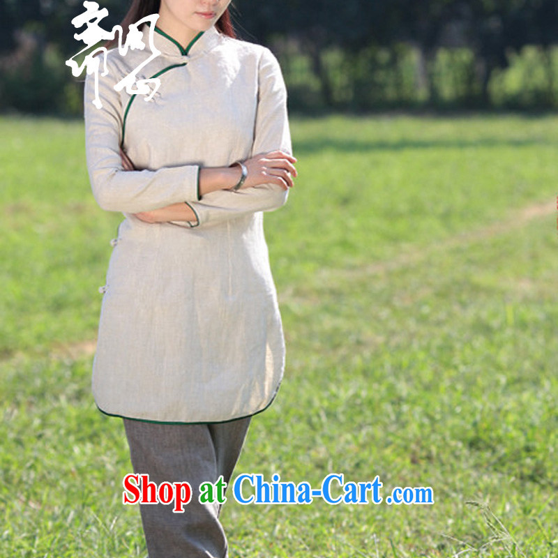 q heart Id al-Fitr autumn new Chinese made up for the charge-back dresses linen Chinese T-shirt WXZ Yau Ma Tei 1664 color manually set to do, take the next 15 days XL code