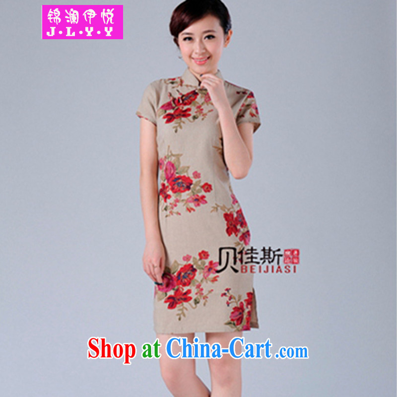 Kam-world the Hyatt summer new mature lady lady sweet temperament the forklift truck improved summer new linen cotton the cheongsam retro China wind mom with short skirts double-card its color XL