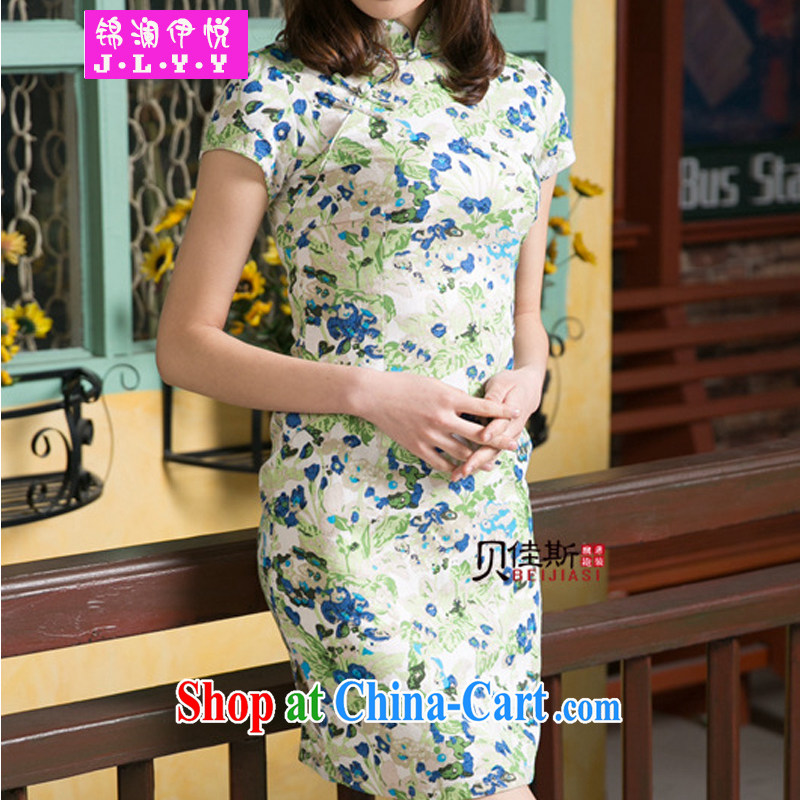 kam world the Hyatt 2014 new female presence on the truck improved linen cotton the dresses retro mom with short skirts dresses 6220 green XXL