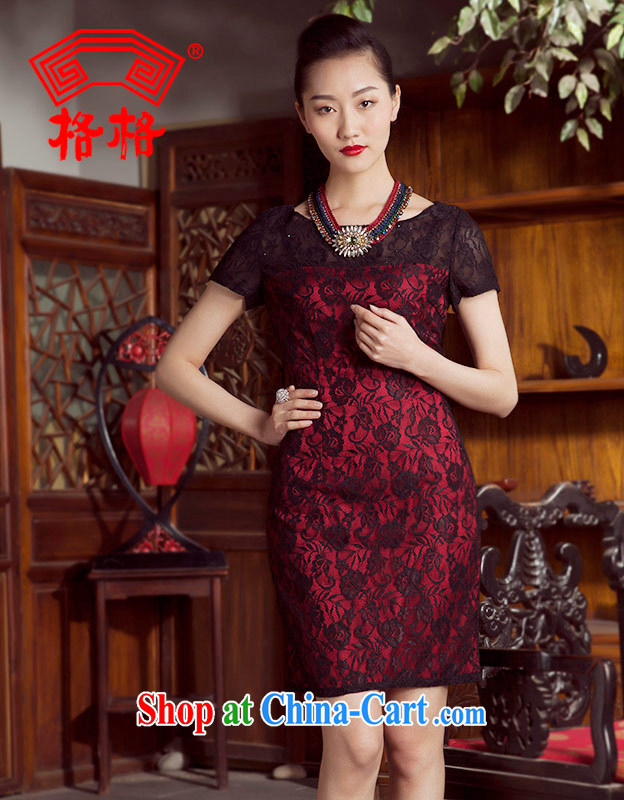 Huan Zhu Ge Ge 2014 spring and summer new stylish lace Chinese skirts dresses sauna Silk Cheongsam female Red 5 XL