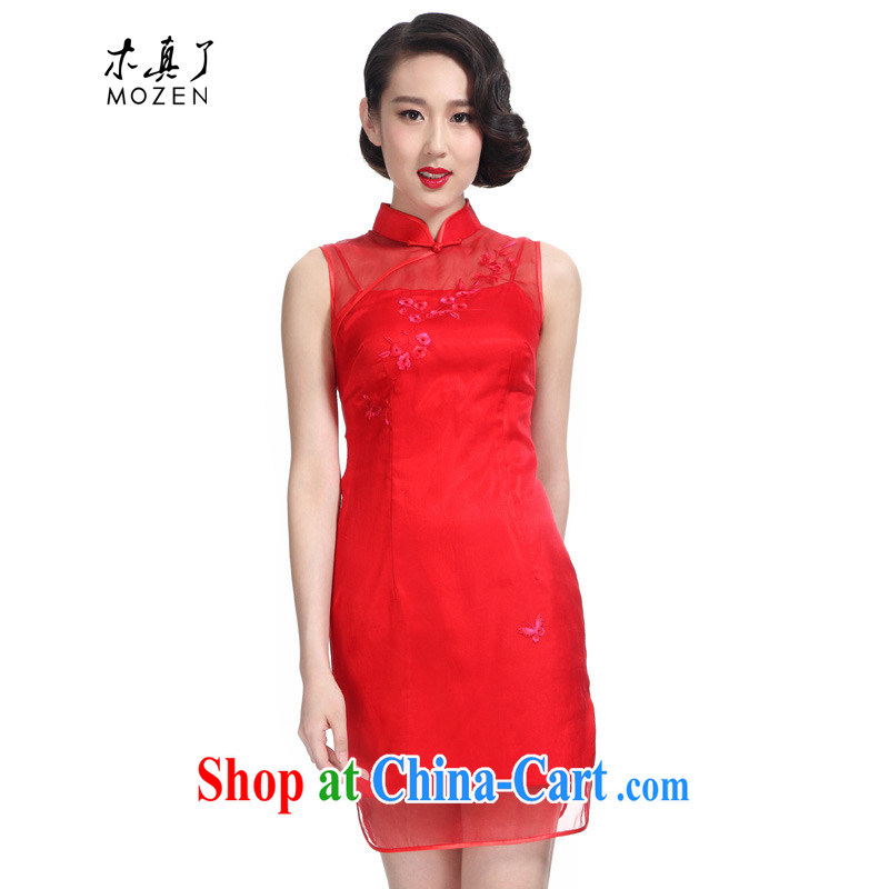 Wood is really the 2015 spring and summer New Silk hand embroidered bridal replace short cheongsam dress 50,721 05 red S