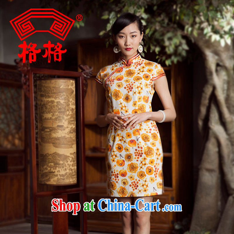 Princess spring and summer new spend, bilateral pure cotton, the edge Chinese qipao dress female yellow 3XL
