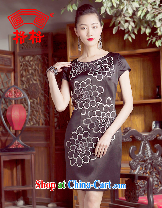 Huan Zhu Ge Ge 2014 spring and summer new ink the flower language standard ironing drill round-collar cheongsam dress dresses female black 6 XL