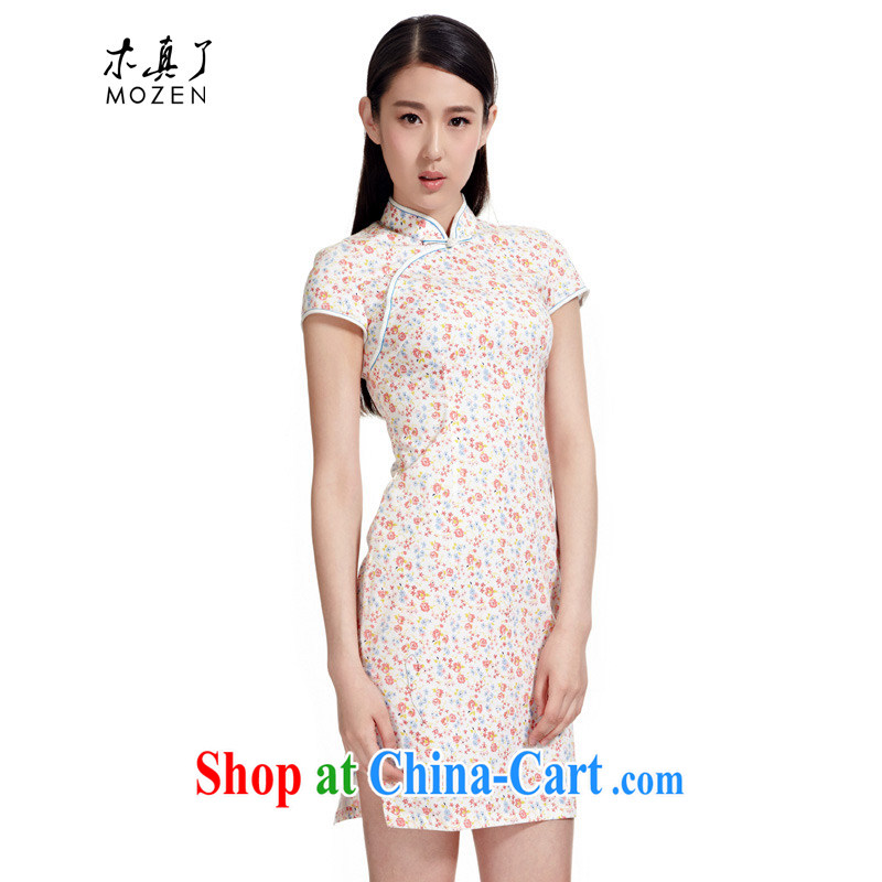 Wood is really the MOZEN summer 2015 new Chinese cotton small floral short cheongsam girls package mail 01,102 19 light pink XXXL
