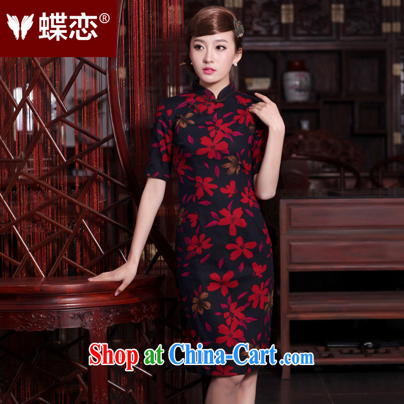 Butterfly Lovers 2015 spring new cheongsam dress Ethnic Wind retro beauty cotton Ma-tie improved cheongsam 40,153 figure M