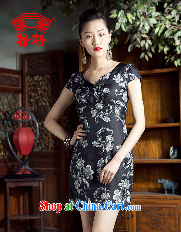 Huan Zhu Ge Ge 2014 spring and summer new ink the flower language standard ironing drill round-collar cheongsam dress dresses female black 4 XL