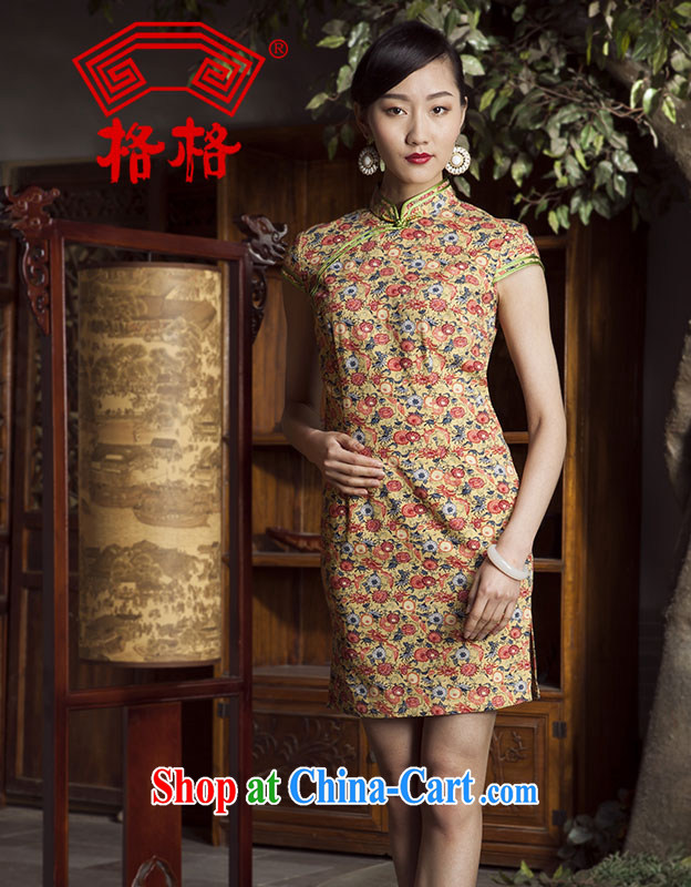 Huan Zhu Ge Ge 2014 spring and summer new flowers, Chinese Antique cotton, the short cheongsam dress female yellow 3XL