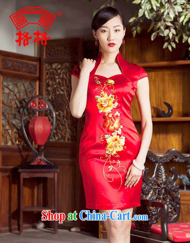 Huan Zhu Ge Ge 2014 spring and summer new, Nigeria and South Korea's high quality embroidered wedding wedding dresses cheongsam dress female Red 3 XL