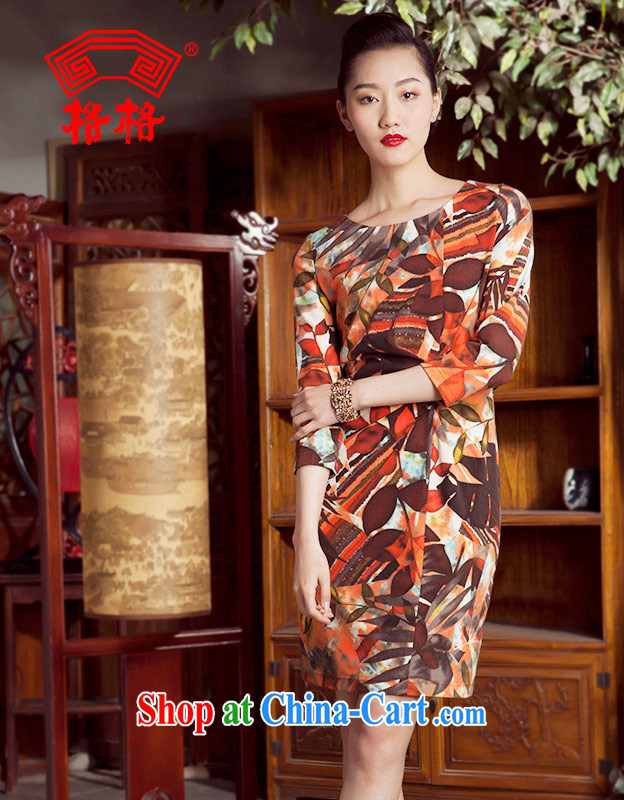 Huan Zhu Ge Ge 2014 spring and summer new recalled that autumn round-collar, long-sleeved 7 cuff cheongsam dress suits women 3 XL